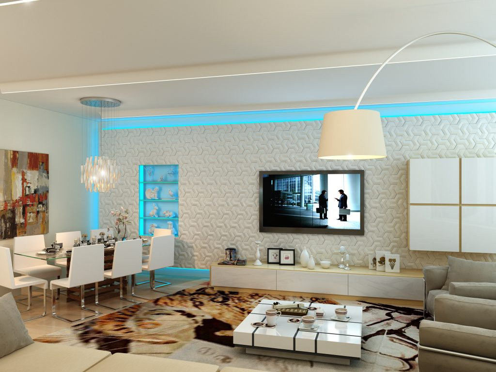 Design of the living room in a modern apartment interior