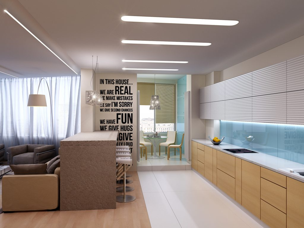 Design of the kitchen in a modern apartment interior