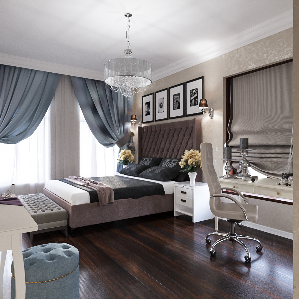 Guest bedroom design in a classic house interior