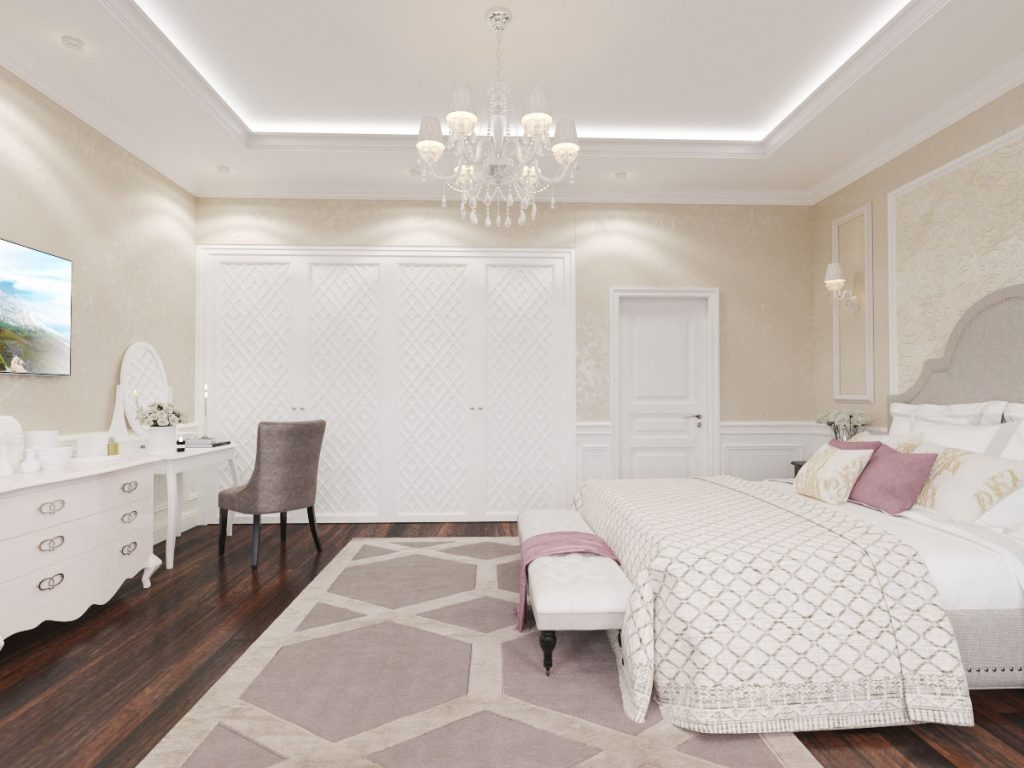 Master bedroom design in a classic house interior