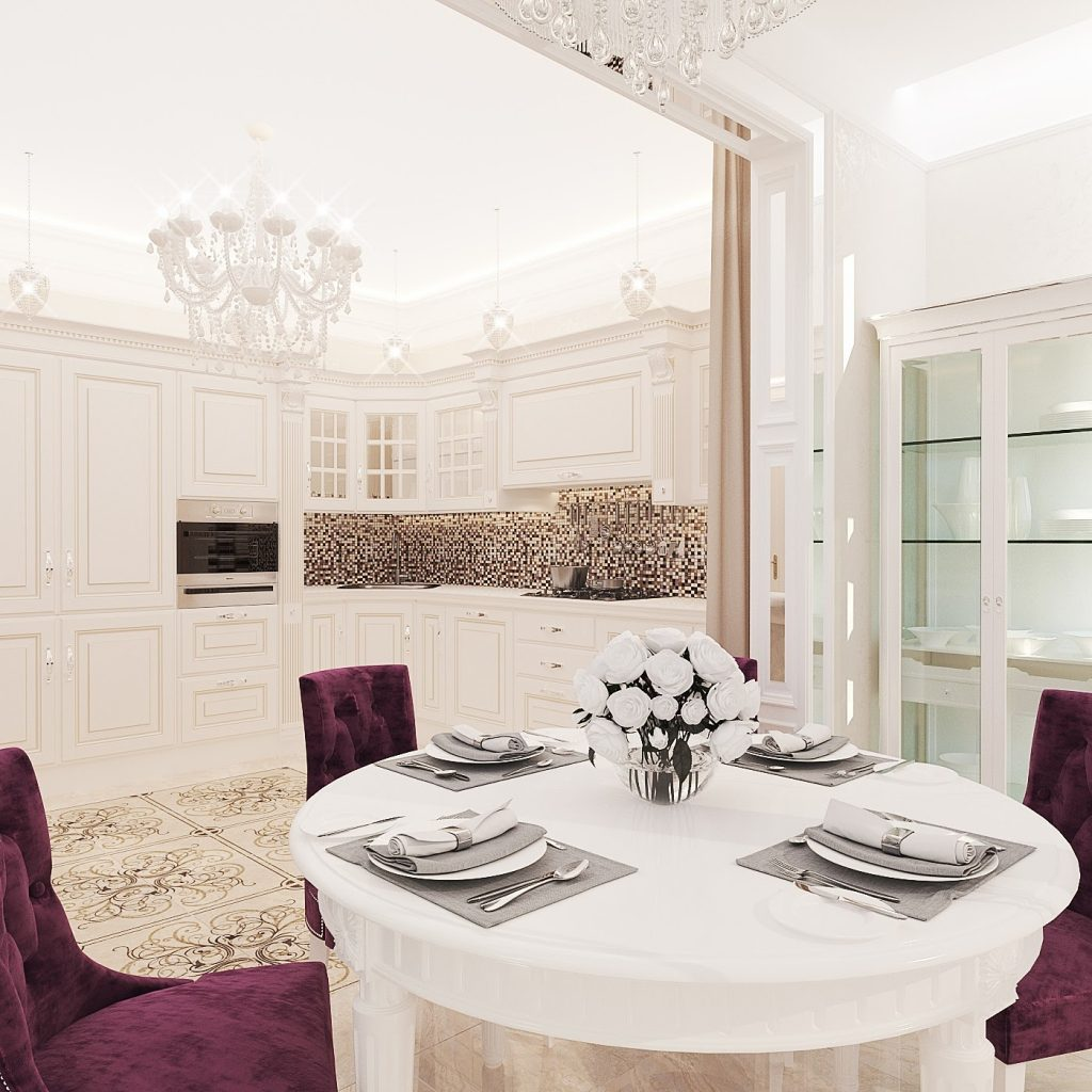 Kitchen and dining space design in a classic apartment interior