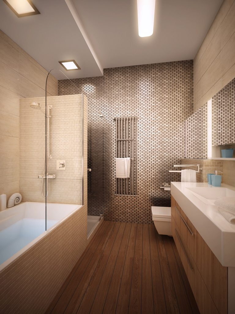 Design of the master bathroom in a modern apartment interior