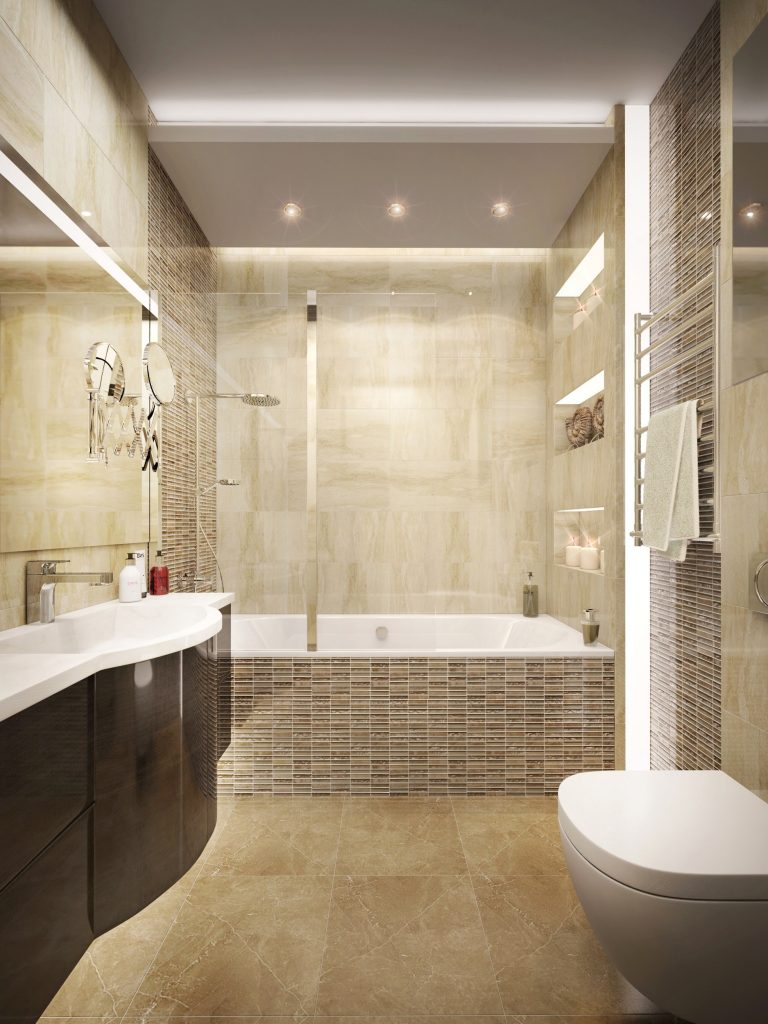 Master bathroom design in a modern apartment interior