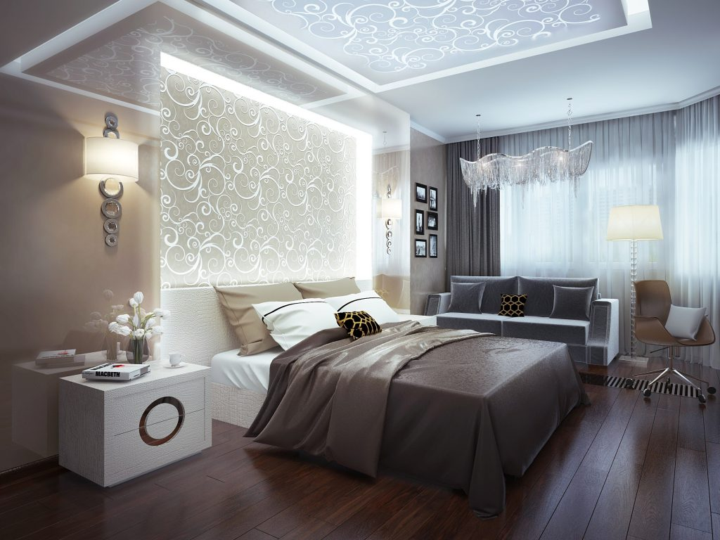Bedroom design in a modern apartment interior