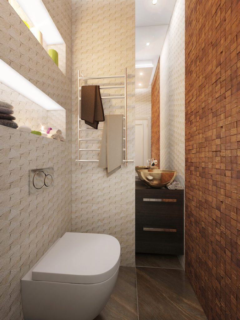 Guest bathroom design in a modern apartment interior
