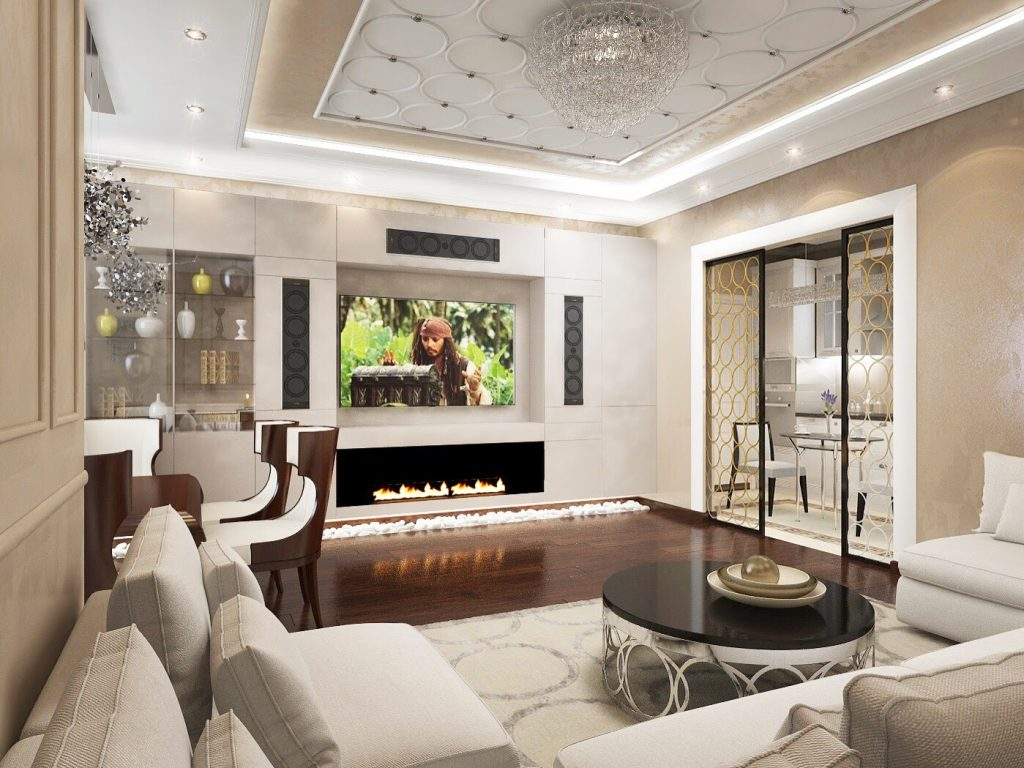 Living room design in a modern apartment interior