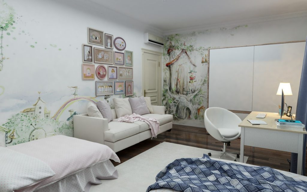 Kids bedroom design in a classic house interior