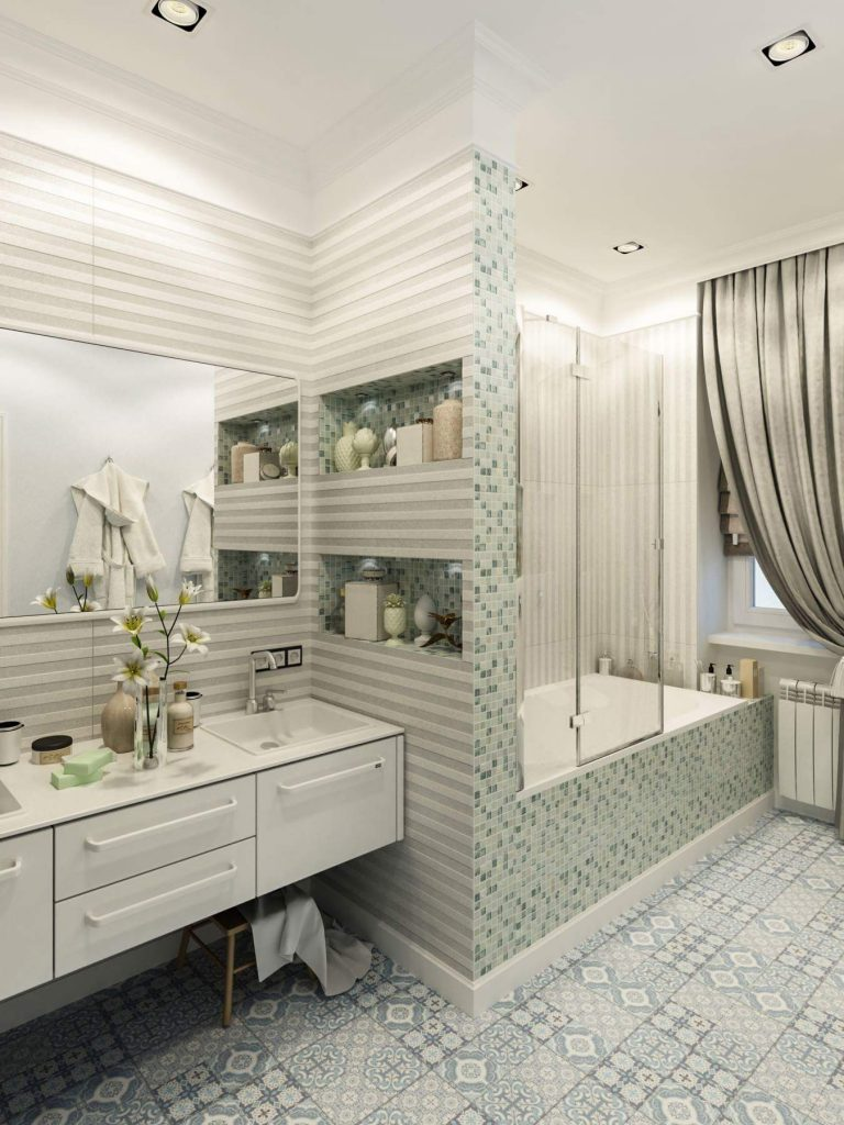 Kids bathroom design in a classic house interior