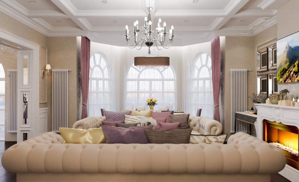 Design of the living room in a classic house interior